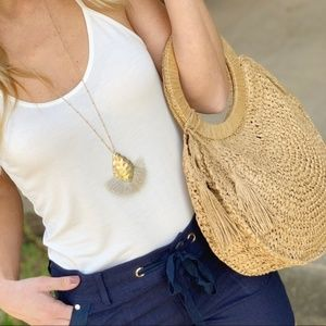 Jewelry - Taupe Fanned Tassel Gold Hammered Pendant Necklace